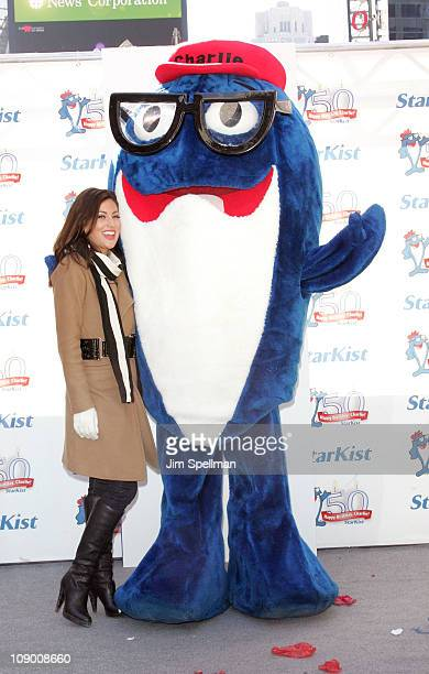 Jillian Harris and Charlie the Tuna attend Charlie the Tuna's 50th birthday celebration at Military Island Times Square on February 11 2011 in New...