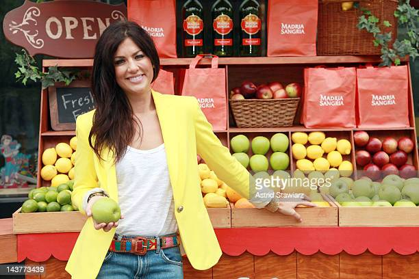 Jillian Harris poses for photos at the Madria Sangria booth at Union Square on May 3 2012 in New York City
