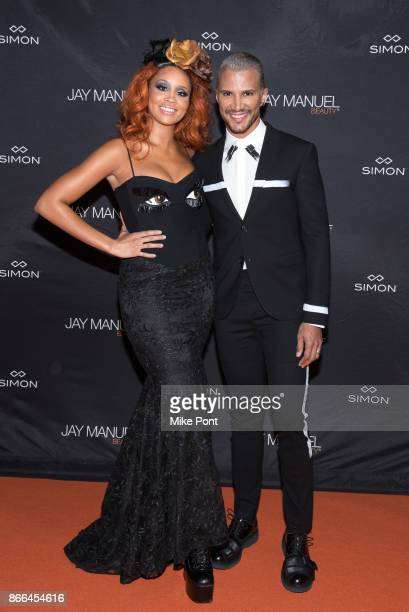 Jillian Hervey and Jay Manuel attend the Jay Manuel Beauty x Simon launch event at Highline Stages on October 25 2017 in New York City