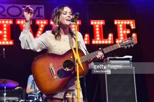 Jillian Jacqueline performs at Michigan International Speedway on July 20, 2018 in Brooklyn, Michigan.