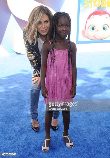 Jillian Michaels and daughter Lukensia Michaels Rhoades arrive at the premiere of Warner Bros Pictures' Storks at Regency Village Theatre on...