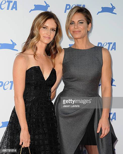 Jillian Michaels and Heidi Rhoades attend PETA's 35th anniversary party at Hollywood Palladium on September 30 2015 in Los Angeles California