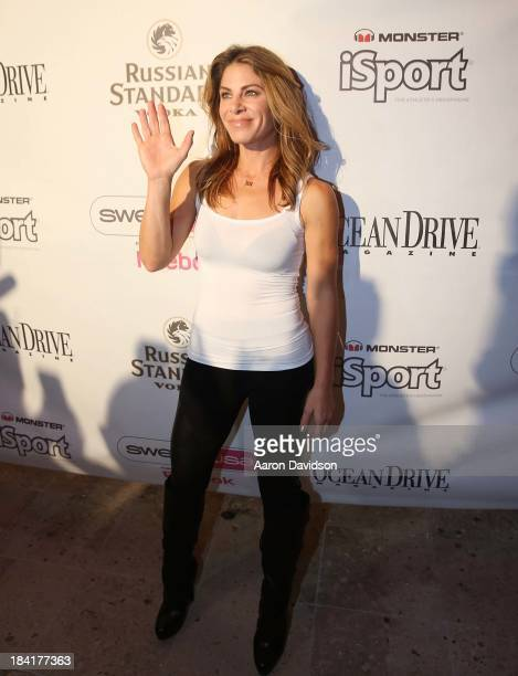 Jillian Michaels holds a press reception for Sweat USA at Shore Club on October 11 2013 in Miami Beach Florida