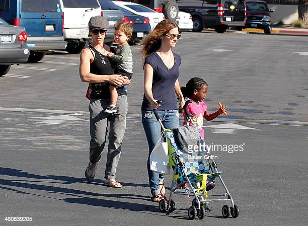 Jillian Michaels is seen with her partner Heidi Rhoades and their children Lukensia Michaels Rhoades and Phoenix Michaels Rhoades in Malibu on...