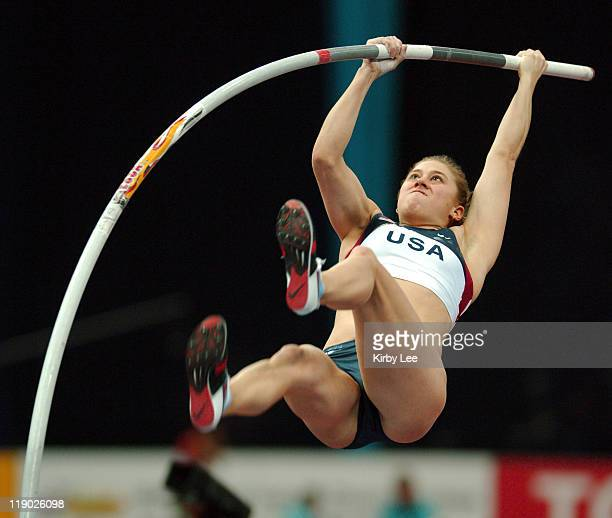 Jillian Schwartz of the United States finished 10th in the women's pole vault qualifying at 143 1/4 in the IAAF World Indoor Championships in...