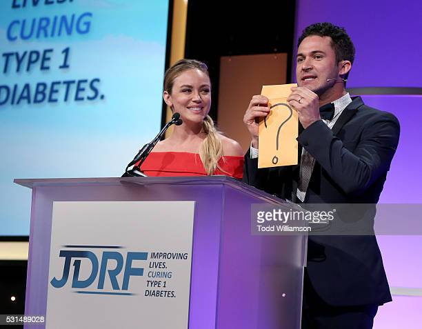 Jillian Sipkins and Magician Justin Willman speak onstage during JDRF LA's IMAGINE Gala to benefit type 1 diabetes research at The Beverly Hilton on...