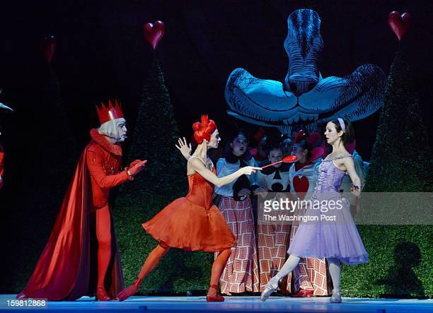 Jillian Vanstone as Alice right with Greta Hodgkinson center and Rex Harrington as the King and Queen of Hearts as the National Ballet of Canada...