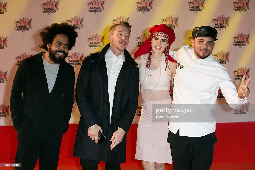 Jillionaire, Diplo, MO and Walshy Fire attend the 17th NRJ Music Awards ceremony at Palais des Festivals on November 7, 2015 in Cannes, France.