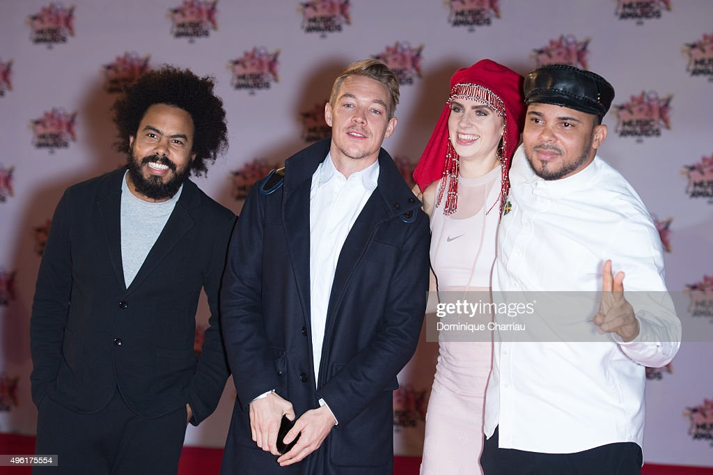Jillionaire, Diplo, MO and Walshy Fire attend the 17th NRJ Music Awards at Palais Des Festivals In Cannes on November 7, 2015 in Cannes, France.