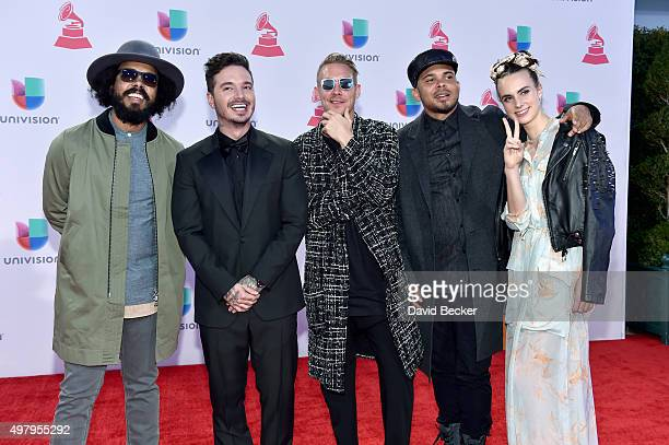 DJ Jillionaire singer J Balvin producer Diplo DJ Walshy Fire and MO attend the 16th Latin GRAMMY Awards at the MGM Grand Garden Arena on November 19...