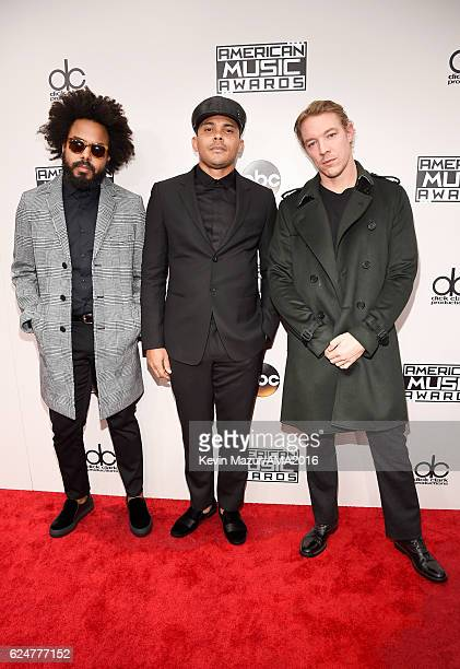 Jillionaire Walshy Fire and Diplo of Major Lazer attend the 2016 American Music Awards at Microsoft Theater on November 20 2016 in Los Angeles...