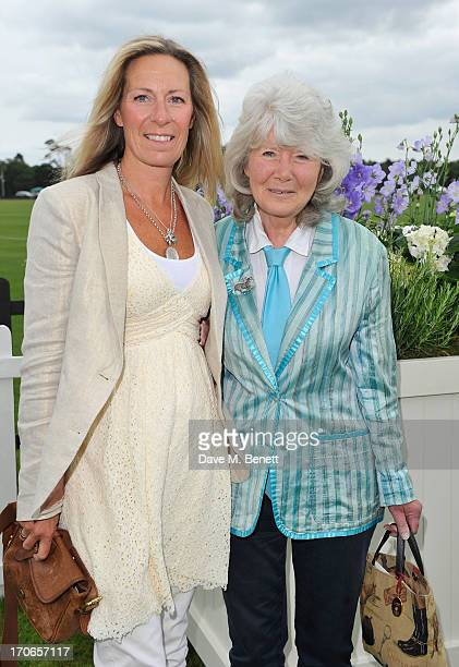 Jilly Cooper and guest attend the Cartier Queen's Cup Polo Day 2013 at Guards Polo Club on June 16 2013 in Egham England