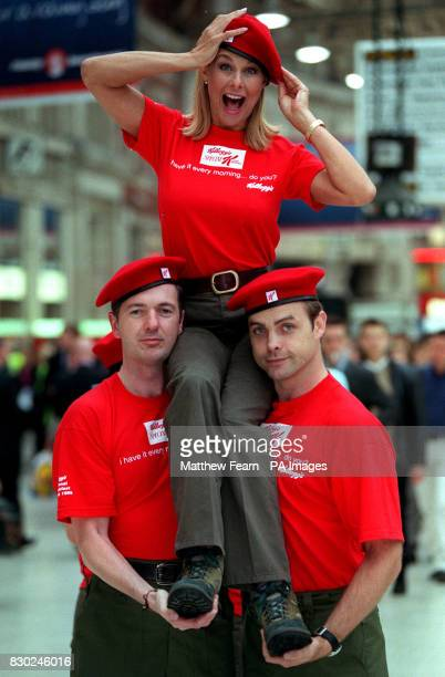 Jilly Johnson former page three model joins the 'Red Berets' at Waterloo station London to launch the new cereal 'Speacial K red Berries'