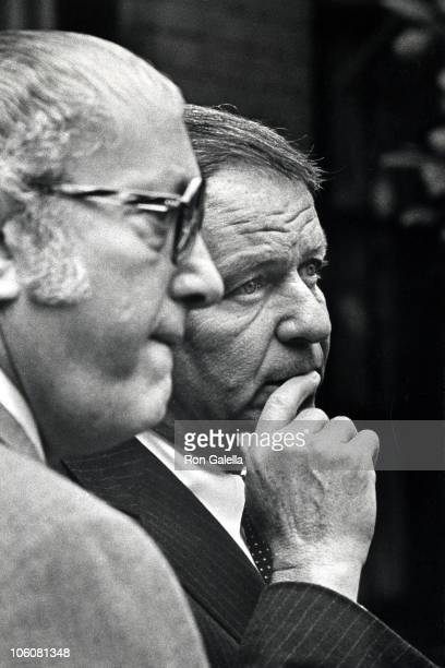 Jilly Rizzo and Frank Sinatra during Funeral Services for Bennett Cerf at 5th Avenue Chapel in New York City New York United States