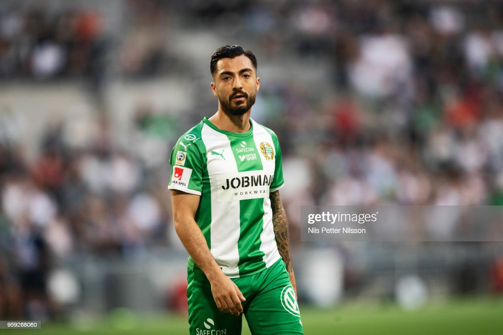 Jiloan Hamad of Hammarby during the Allsvenskan match between Hammarby IF and Malmo FF at Tele2 Arena on May 16, 2018 in Stockholm, Sweden.