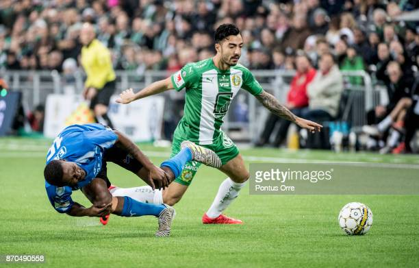 Jiloan Hamad of Hammarby IF and Aboubakar Keita of Halmstad BK during the Allsvenskan match between Hammarby IF and Halmstad BK at Tele2 Arena on...