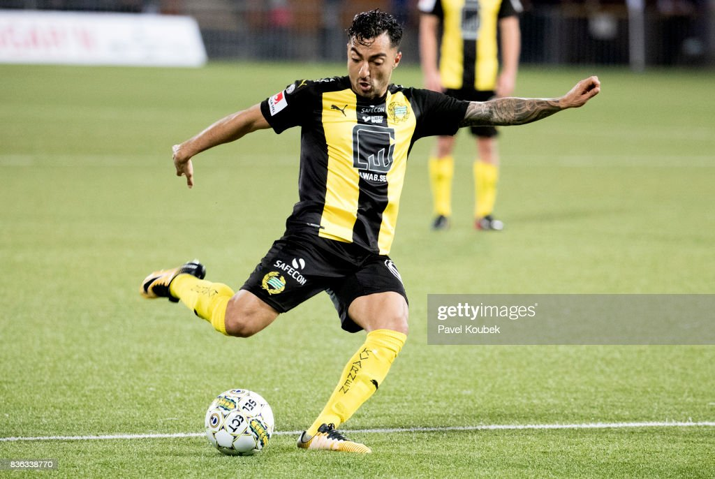 Jiloan Hamad of Hammarby IF during the Allsvenskan match between Orebro SK and Hammarby IF at Behrn Arena on August 21, 2017 in Orebro, Sweden.