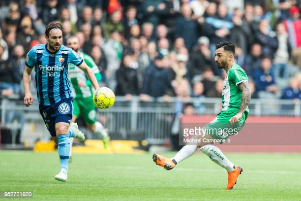 Jiloan Hamad of Hammarby passes forward the ball setting up the 21 goal during a match between Djurgardens IF and Hammarby IF at Tele2 Arena on April...