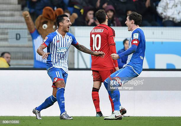 Jiloan Hamad of Hoffenheim celebrates with his teammate Sebastian Rudy after scoring his team's first goal during the Bundesliga match between 1899...