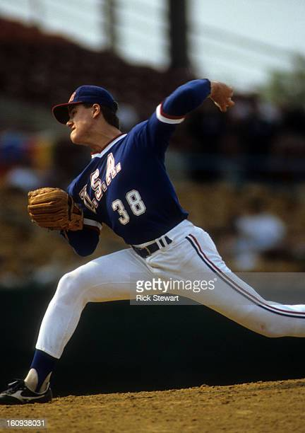 Jim Abbott of Team USA throws a pitch during a game in the 1987 Pan American Games at Bush Stadium on August 12 1987 in Indianapolis Indiana