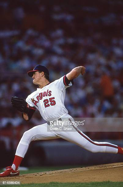 Jim Abbott of the California Angels circa 1989 pitches at the Big A in Anaheim California
