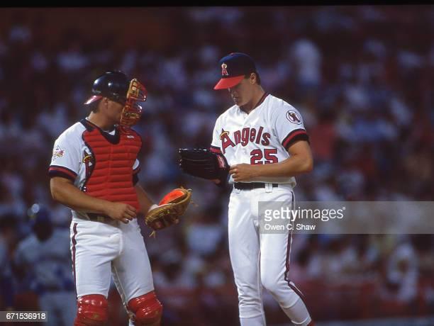 ANAHEIM CA Jim Abbott of the California angels circa 1989 pitching at the Big A in Anaheim California