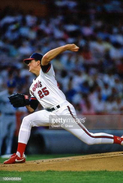 Jim Abbott of the California Angels pitches at the Big A in AnaheimCalifornia
