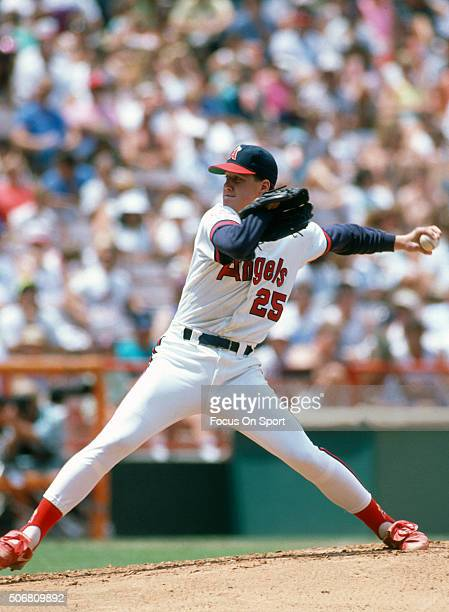Jim Abbott of the California Angles pitches during an Major League Baseball game circa 1989 at Anaheim Stadium in Anaheim California Abbott played...