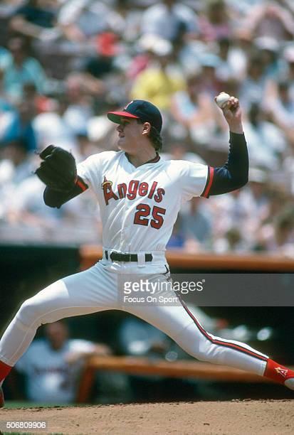 Jim Abbott of the California Angles pitches during an Major League Baseball game circa 1989 at Anaheim Stadium in Anaheim California Abbott played...