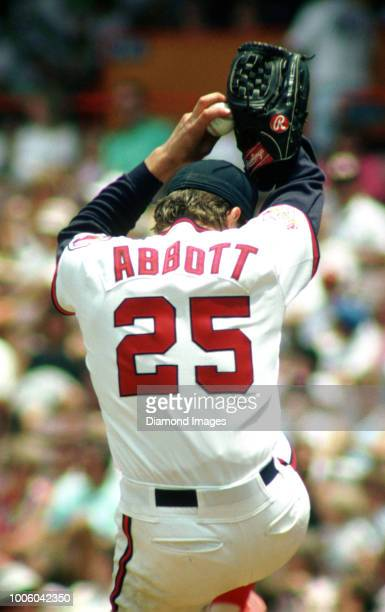 Jim Abbott of the California Angles winds up to throw a pitch during a game circa 1989 at Anaheim Stadium in Anaheim California