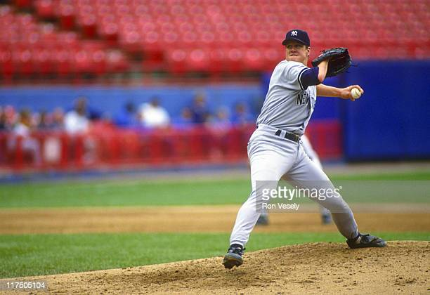 Jim Abbott of the New York Yankees pitches against the Milwaukee Brewers at County Stadium in Milwaukee Wisconsin on September 15 1993 Abbott played...