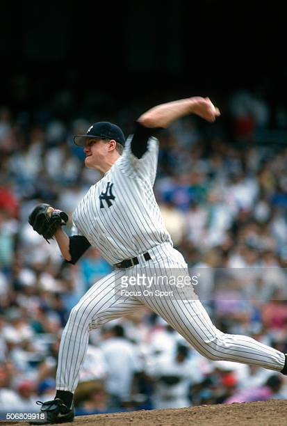 Jim Abbott of the New York Yankees pitches during an Major League Baseball game circa 1994 at Yankee Stadium in the Bronx borough of New York City...