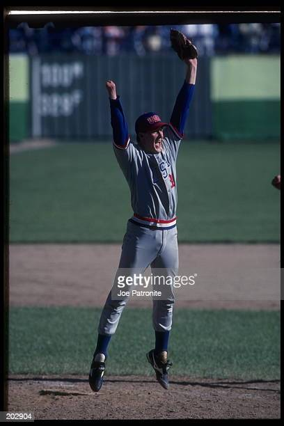 Jim Abbott of the United States celebrates after he pitched a complete game victory against Japan to win the gold medal during the 1988 Seoul Olympic...