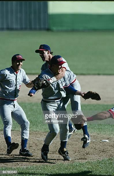 Jim Abbott of the USA celebrates winning the gold medal game against Japan on September 1 1988 in Seoul South Korea
