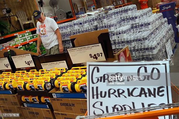 Jim Abel shops for hurricane supplies at Home Depot as he prepares for the possible arrival of Hurricane Irene on August 22 2011 in West Palm Beach...