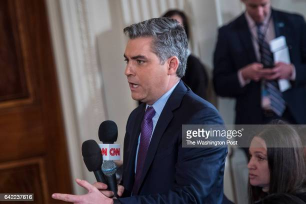 Jim Acosta of CNN asks President Donald Trump a question during a press conference in the East Room of the White House in Washington DC on Thursday...