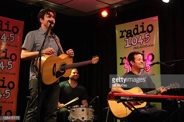 Jim Adkins Zach Lind and Tom Linton of Jimmy Eat World perform during a 1045 Radio Studio Session on October 11 2010 in Bala Cynwyd Pennsylvania