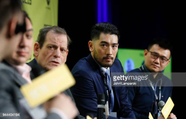 Jim Alexander Dylan Marchetti Howard Rosenman Godfrey Gao and Nick Yang speak during the Global Entertainment Industry Summit at the Manhattan Center...