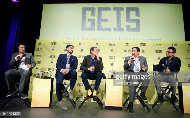 Jim Alexander Godfrey Gao Howard Rosenman Dylan Marchetti and Nick Yang speak during the Global Entertainment Industry Summit at the Manhattan Center...