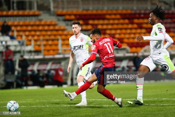 Jim ALLEVINAH of Clermont try and Ismael DOUKOURE of Valenciennes during the Ligue 2 BKT match between Clermont and Valenciennes on February 27, 2021...