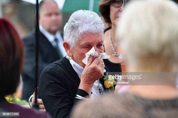 Jim Anderton's widdow Carole Anderton attends the funeral service for former Deputy Prime Minister Jim Anderton on January 11 2018 in Christchurch...