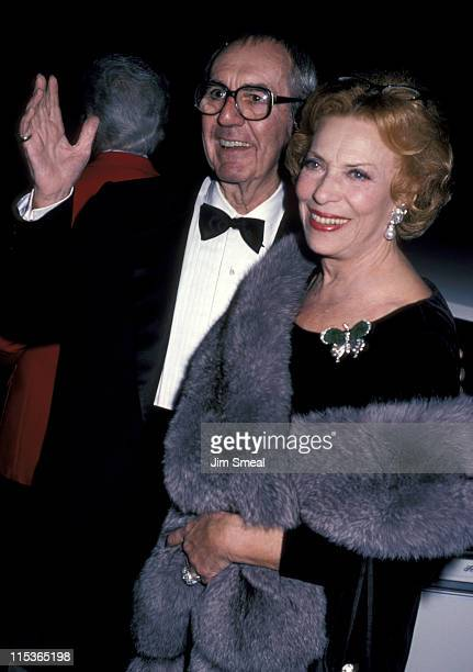 Jim Backus and Henny Backus during George Burns' 90th Birthday Party at Chasen's Restaurant in Beverly Hills California United States