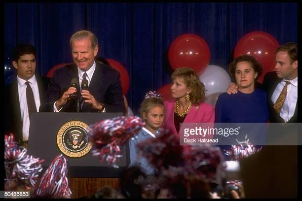 Jim Baker speaking at Pres Bush's election night concession to Dem Clinton w Bush family Doro husband Bobby Koch Sharon Lauren