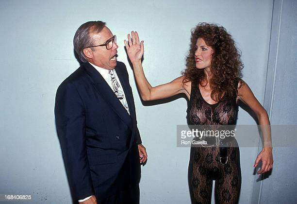 Jim Bakker lookalike and model Jessica Hahn On the Set of the Film High Heels on August 18 1991 at Hollywood Center Studios in Hollywood California