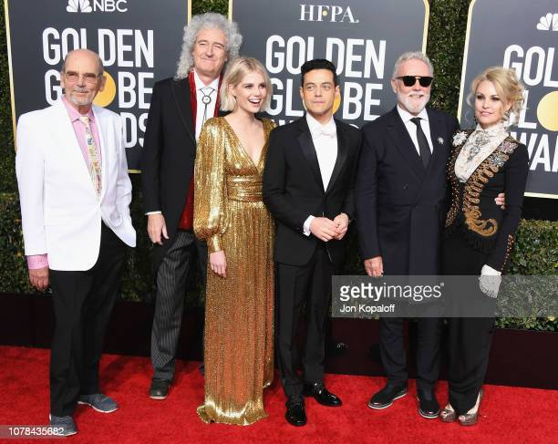 Jim Beach Brian May of Queen Lucy Boynton Rami Malek Roger Taylor of Queen and Sarina Potgieter attend the 76th Annual Golden Globe Awards at The...