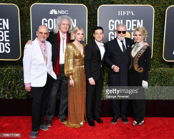 Jim Beach Brian May of Queen Lucy Boynton Rami Malek Roger Taylor of Queen and Sarina Potgieter attend the 76th Annual Golden Globe Awards held at...