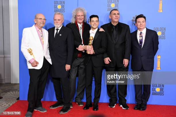 Jim Beach Roger Taylor and Brian May of Queen Best Actor in a Motion Picture Drama for 'Bohemian Rhapsody' winner Rami MalekProducer Graham King and...