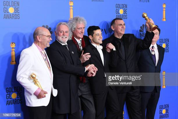 Jim Beach Roger Taylor and Brian May of Queen Rami Malek Graham King and Mike Myers poses in the press room during the 75th Annual Golden Globe...