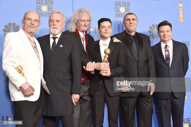 Jim Beach Roger Taylor Brian May Rami Malek Graham King and Mike Myers attend the 76th Annual Golden Globe Awards Press Room at The Beverly Hilton...