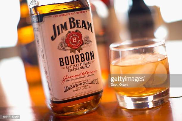 Jim Beam bourbon is shown on February 3, 2015 in Chicago, Illinois. Sales of U.S. Produced bourbon and Tennessee whiskeys were up 7.4 percent in...
